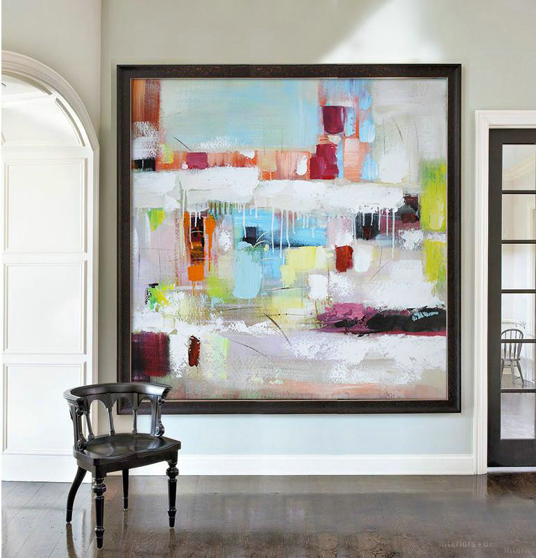 Abstract Painting Extra Large Canvas Art,Oversized Contemporary Art,Modern Painting Abstract,Sky Blue,Red,White,Purple.etc